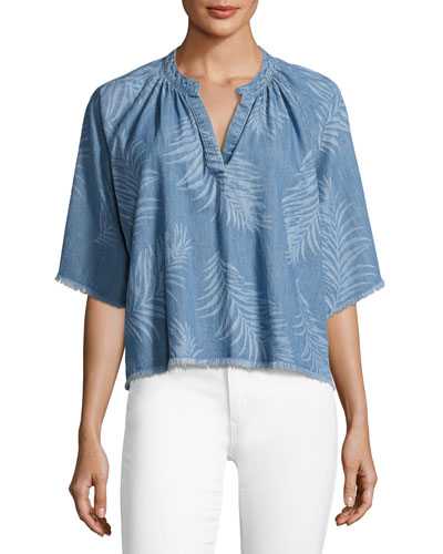 Kailani Palm-Print Chambray Top, Indigo