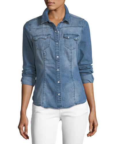 Giselle Snap-Front Collared Denim Shirt