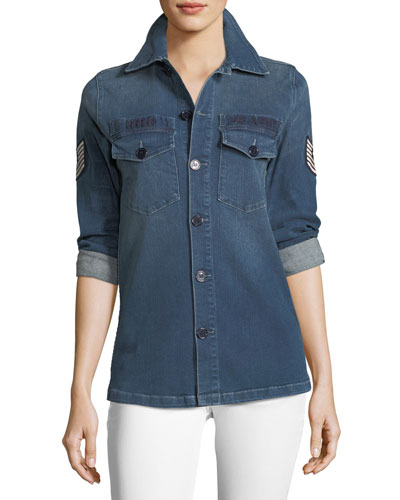 Adriana Button-Front Denim Shirt w/ Pilot Patches