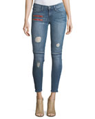 Gigi Low-Rise Skinny Denim Jeans w/ Novelty Details