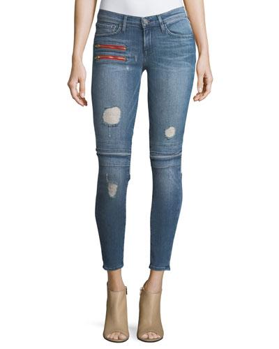 Gigi Low-Rise Skinny Denim Jeans w/ Novelty Details