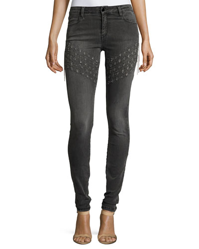 Brockenbow Plaza Emma Chain Embroidered Skinny Denim Jeans, Gray