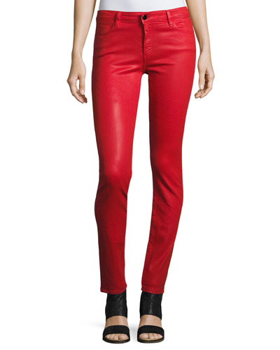 Emma Mid-Rise Skinny Jeans, Fontana Lucia Wax Red