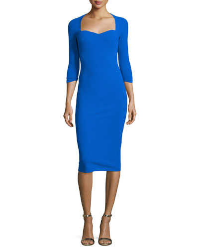 Serenity 3/4-Sleeve Sweetheart Knee-Length Cocktail Dress, Green