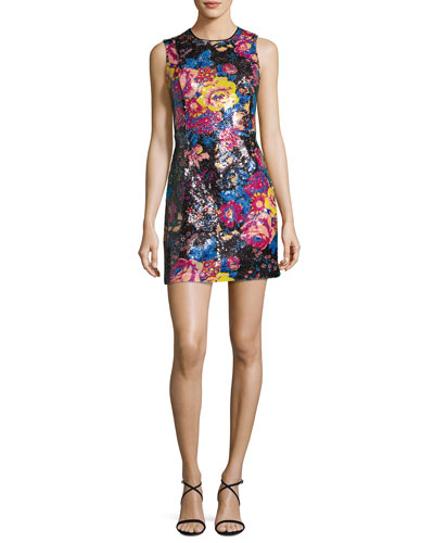 Floral Sequin Sleeveless Mini Dress, Black