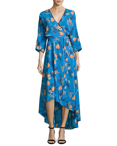 Long-Sleeve Asymmetric-Hem Silk Wrap Dress, Blue