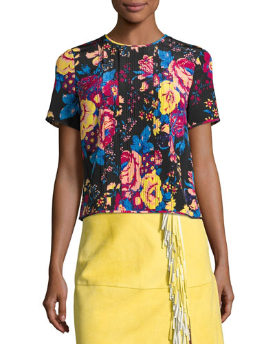 Floral-Print Tailored Silk T-Shirt, Black