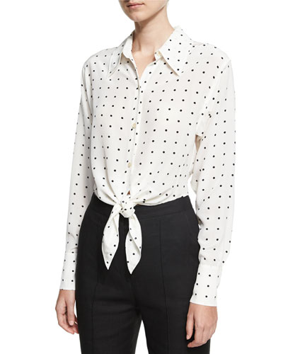 Long-Sleeve Dotted Front-Tie Shirt, White