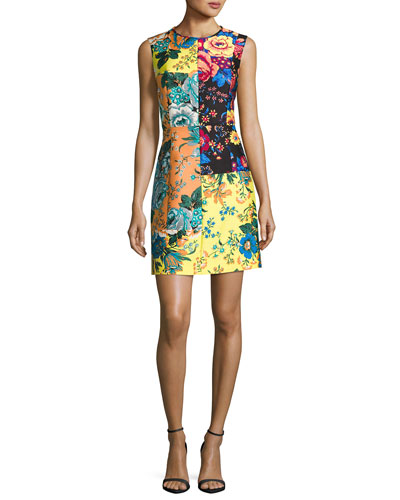 Sleeveless Tailored Paneled Shift Dress, Multiprint