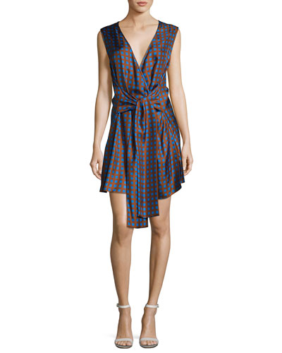 Crossover Sleeveless Tie-Front Silk Dress, Multi