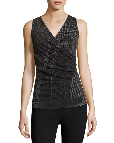 Sleeveless Check-Print Top, Black
