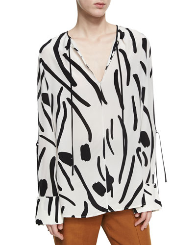 Keyhole Tied Long Sleeve Silk Blouse, White