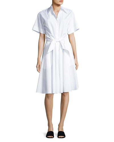 Collared Cotton Tie-Front Shirtdress, White