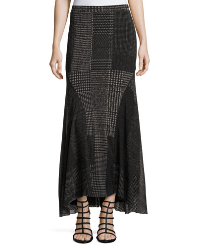 Check-Print Maxi Skirt, Black