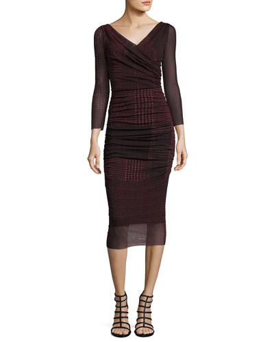 3/4-Sleeve Ruched Check-Print Midi Sheath Dress, Black/Red