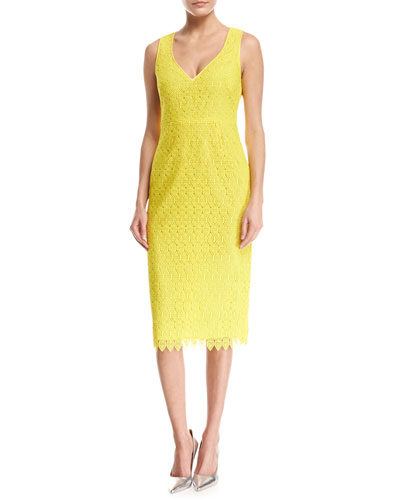 Sleeveless V-Neck Tailored Midi Dress, Yellow