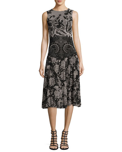 Sleeveless Floral Lace-Print Dress, Black Multi