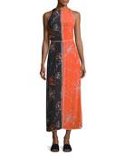 Sleeveless Paneled Floor-Length Dress, Multi