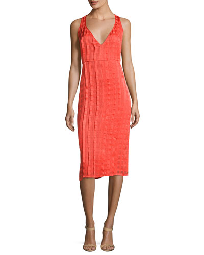 Sleeveless V-Neck Tailored Midi Dress, Red