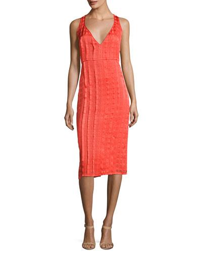 Diane Von Furstenberg Midi dresses SLEEVELESS V-NECK TAILORED MIDI DRESS, RED