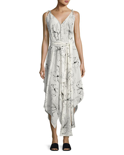 Sleeveless Scarf Hem Midi Dress, White