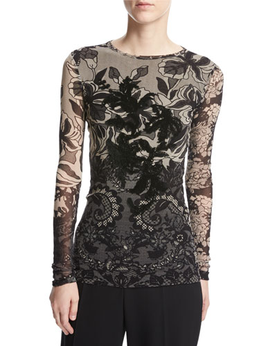 Long-Sleeve Floral Lace-Print Top, Black