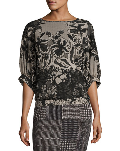 Dolman-Sleeve Floral Lace-Print Top, Black