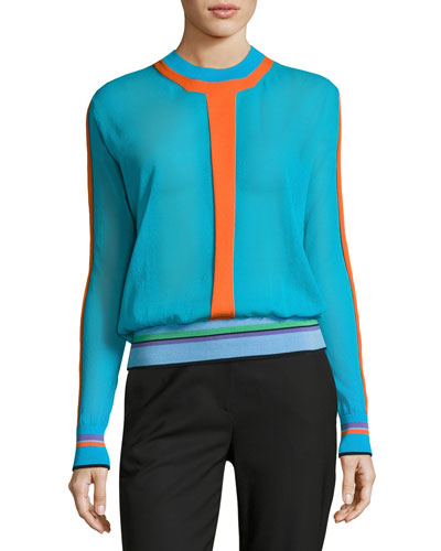 Long-Sleeve Crewneck Knit Pullover, Multi