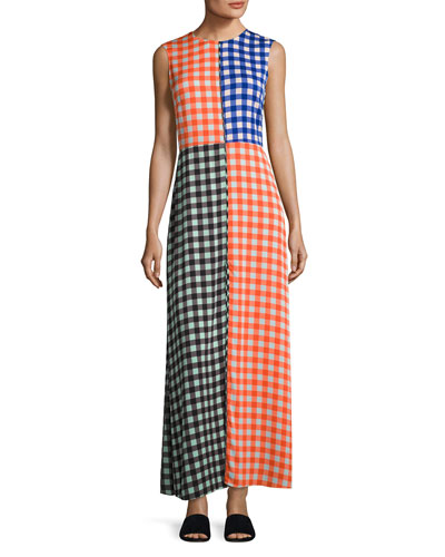 High-Neck Sleeveless Check Maxi Dress, Multi