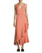Sleeveless Asymmetric Ruffle Hem Midi Dress, Red