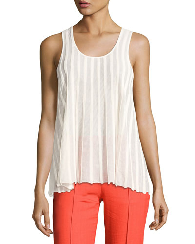 Sleeveless Ribbed Top, White