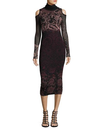 Cold-Shoulder Turtleneck Floral Lace-Print Midi Dress, Black Multi