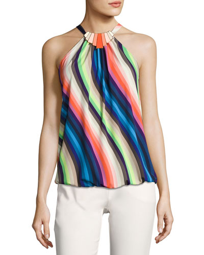 Ari Sleeveless Striped Stretch Jersey Top, Multicolor