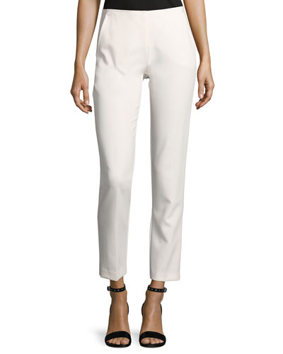 Varvara Cropped Luxe Drape Pants, White