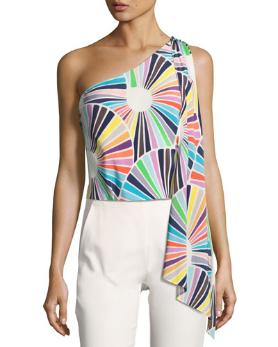 Ezmeralda One-Shoulder Printed Silk Crepe de Chine Top, Multicolor
