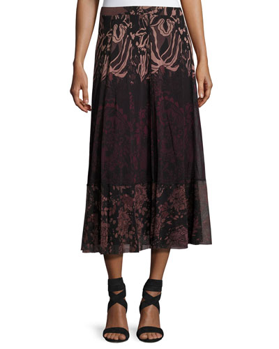 Floral Lace-Print Midi Skirt, Black/Pink