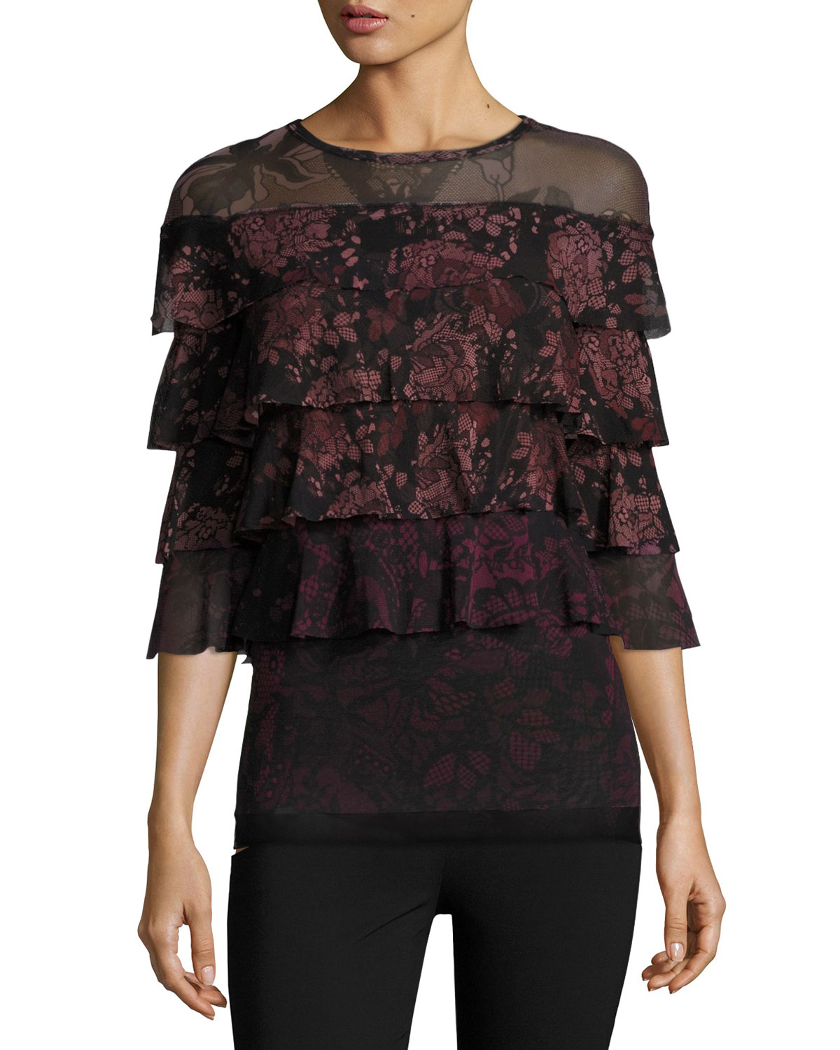 3/4-Sleeve Ruffled Floral Lace-Print Blouse, Black/Pink