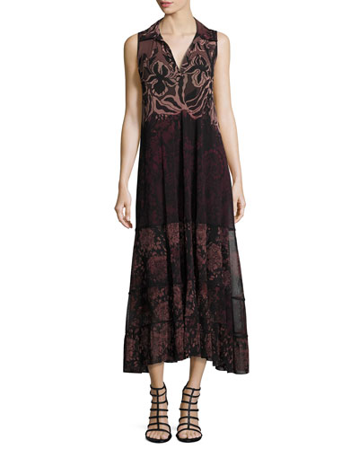 Collared V-Neck Floral Lace-Print Midi Dress, Black Multi