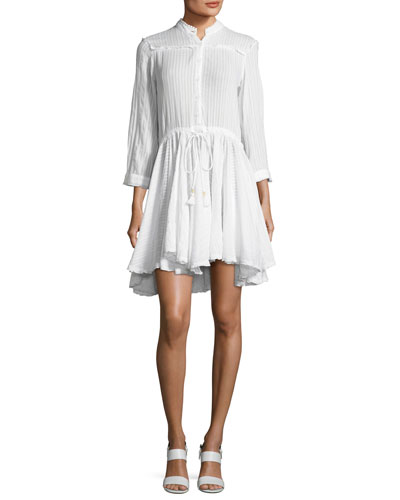Ranil Striped Cotton Shirtdress, White