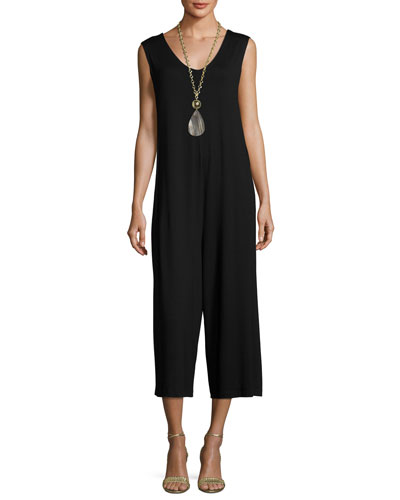 Lightweight Cropped Jersey Jumpsuit, Black
