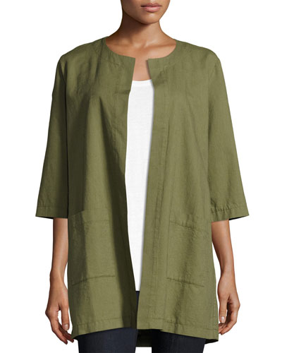Cross-Dyed Long Jacket, Olive, Plus Size