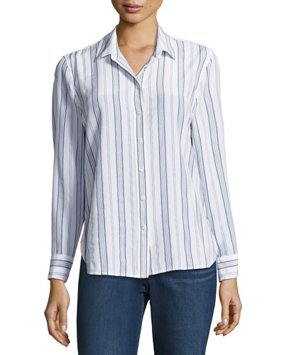 Leema Striped Silk Shirt, Multipattern