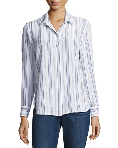 Leema Striped Silk Shirt, Multipattern