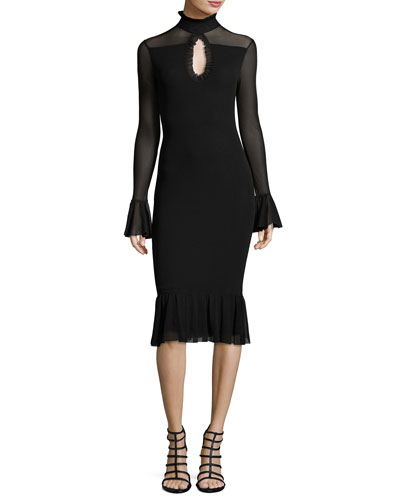 Long-Sleeve Turtleneck Fit-&-Flare Dress, Black