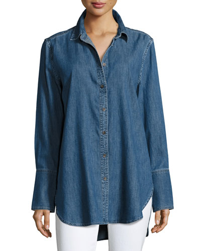 Arlette Button-Down Chambray Shirt, Blue
