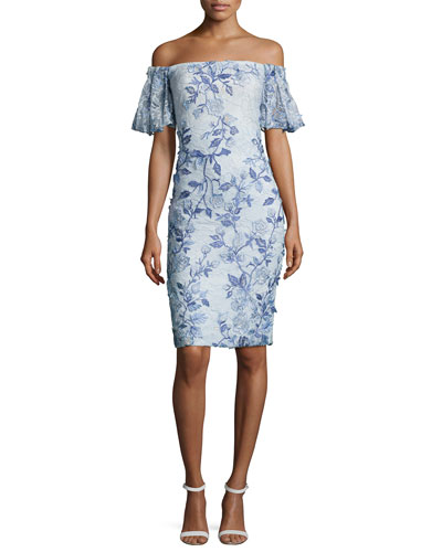 Off-the-Shoulder Embroidered Lace Cocktail Dress, Light Blue