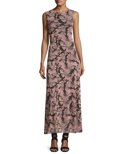 Sleeveless Butterfly-Print Maxi Dress, Pink Multi