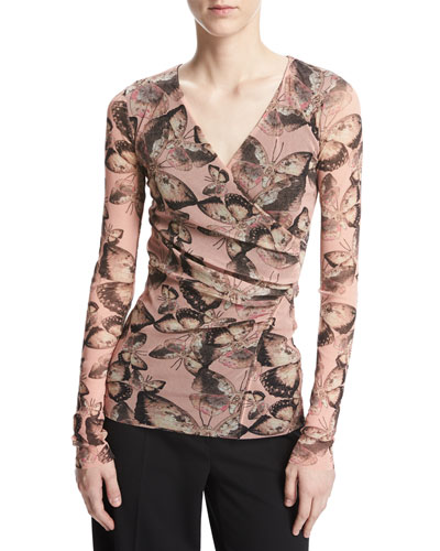 Long-Sleeve Butterfly-Print Top, Pink