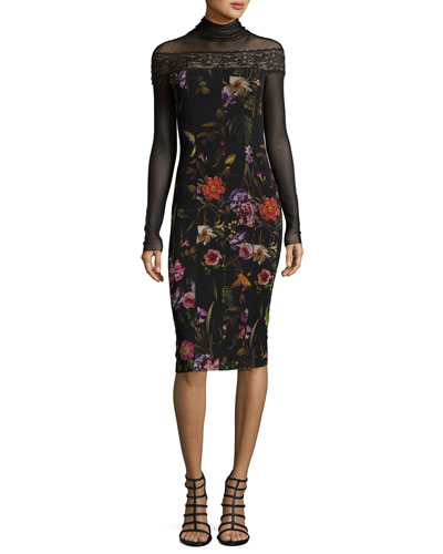 Long-Sleeve Mesh-Yoke Floral-Print Sheath Dress, Black Multi