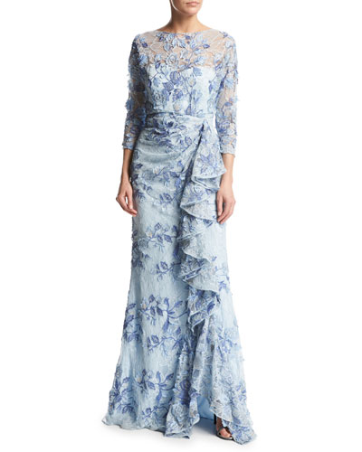 3/4-Sleeve Embroidered Floral Lace Gown, Light Blue